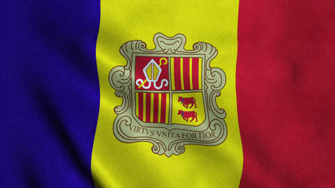 Realistic Ultra-HD flag of the Andorra waving in the wind. Seamless loop with hi Animation
