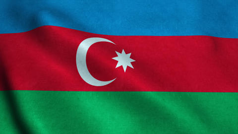 Realistic Ultra-HD flag of the Azerbaijan waving in the wind. Seamless loop with Animation