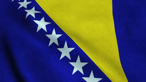 Realistic Ultra-HD flag of the Bosnia and Herzegovina waving in the wind. Seamle Animation