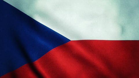 Realistic Ultra-HD flag of the Czech Republic waving in the wind. Seamless loop  Animation
