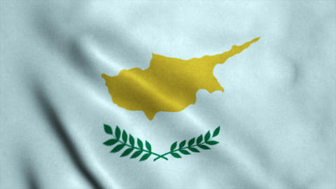 Realistic Ultra-HD flag of the Cyprus waving in the wind. Seamless loop with hig Animation