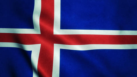 Realistic Ultra-HD flag of the Iceland waving in the wind. Seamless loop with hi Animation