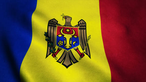 Realistic Ultra-HD flag of the Moldova waving in the wind. Seamless loop with hi Animation