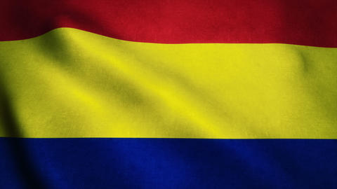 Realistic Ultra-HD flag of the Romania waving in the wind. Seamless loop with hi Animation