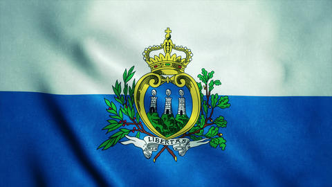 Realistic Ultra-HD flag of the San Marino waving in the wind. Seamless loop with Animation