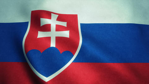 Realistic Ultra-HD flag of the Slovakia waving in the wind. Seamless loop with h Animation