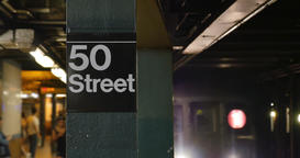New York City Subway Train Approaches 50th Street Platform Footage