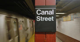 New York Subway Car Approaches Canal Street Station Footage