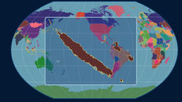 New Caledonia - 3D tube zoom (Kavrayskiy VII projection). Administrative Animation
