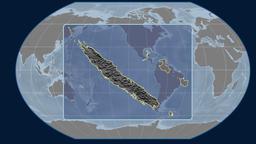 New Caledonia - 3D tube zoom (Kavrayskiy VII projection). Bumps Animation