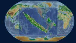 New Caledonia - 3D tube zoom (Kavrayskiy VII projection). Bumps shaded Animation