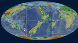 New Zealand - 3D tube zoom (Mollweide projection). Bumps shaded Animation