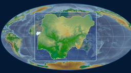 Nigeria - 3D tube zoom (Mollweide projection). Bumps shaded Animation