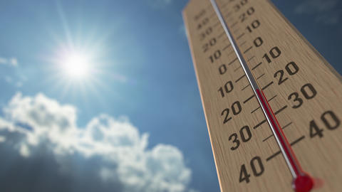 Outdoor thermometer reaches minus five -5 degrees centigrade. Weather forecast Live Action