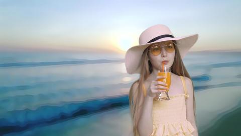Elegant Girl Drink Orange Juice Sea Background Footage