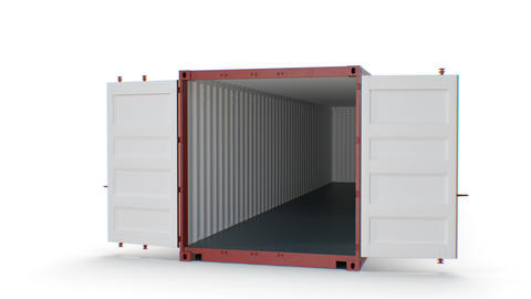 Container Falling, Fast Fall and Slow Motion of Opening Doors on White Live Action