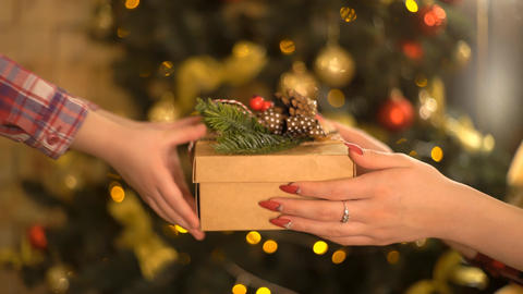 Give Gift. Close Up Hands Of Couple In Christmas A Gift Box. Happy Live Action