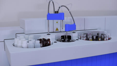 Medical automatic robotic analyzer of human biological material Live Action