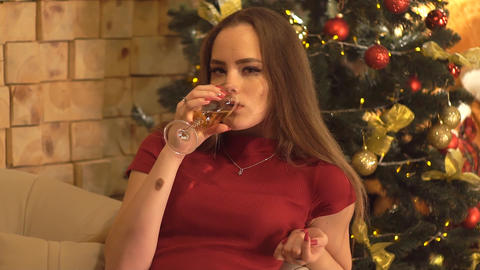 Young Attractive Woman Celebrating With Glass Of Champagne Live Action