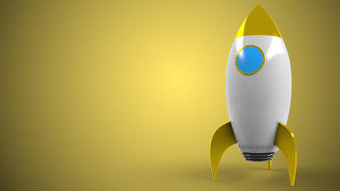 SHELL logo on a rocket mockup. Editorial conceptual success related animation Live Action