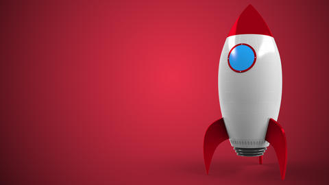 Logo of ORACLE on a toy rocket. Editorial conceptual success related animation Live Action