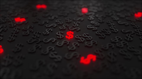Glowing red dollar signs among black USD symbols. Conceptual 3D animation Footage