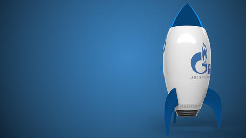 GAZPROM logo on a rocket mockup. Editorial conceptual success related animation Live Action