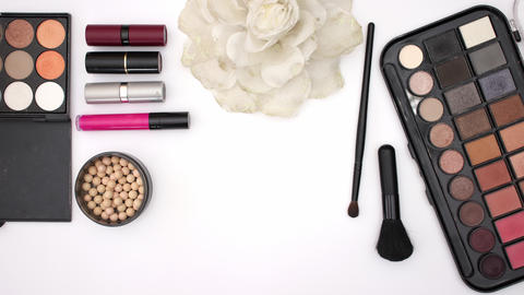 Make up brush introduce make up and cosmetics products on white background -Stop motion Animation