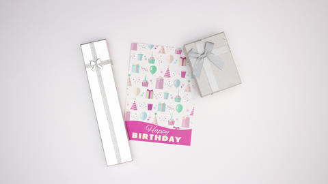 Birthday card and presents appear on white background - Stop motion Animation
