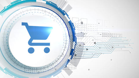 shopping cart icon animation white digital elements technology background Animation