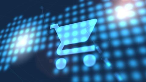shopping cart icon animation blue digital world map technology background Animation