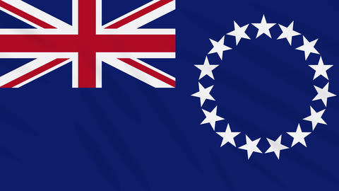 Cook Islands flag waving cloth background, loop Animation