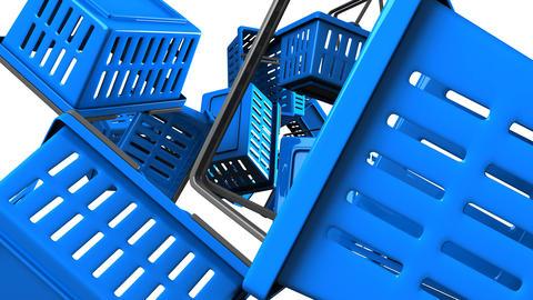 Blue Shopping baskets on white background Animation