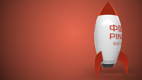Logo of PING AN INSURANCE on a toy rocket. Editorial conceptual success related Live Action