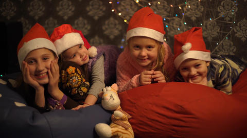 Cute Children, Boy And Girls, Having Fun On Christmas Live Action