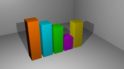bar chart animation, 3d bars in different colors increasing and decreasing Animation