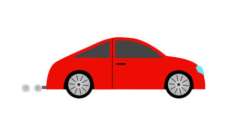 Red sport car with exhaust smoke flat icon loop animation with alpha channel CG動画