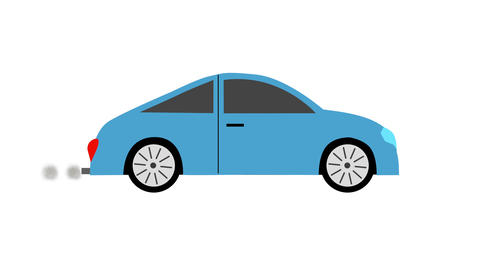 Blue sport car flat icon with exhaust smoke loop animation with alpha channel Animation