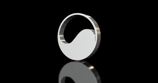 Ying and yang symbol rotating on black background Animation