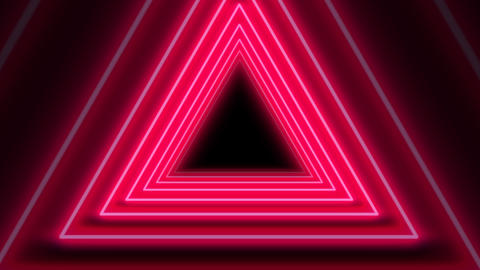 Beautiful Red Neon Abstract Triangle Tunnel seamless background. Futuristic looped Tunnel Concept Animation