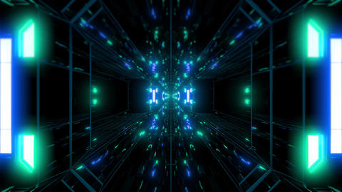 dak reflective scifi tunnel background with nicec glow 3d illustration 3d Animation