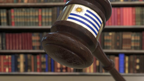 Flag of Uruguay on falling judges gavel in court. National justice or Live Action