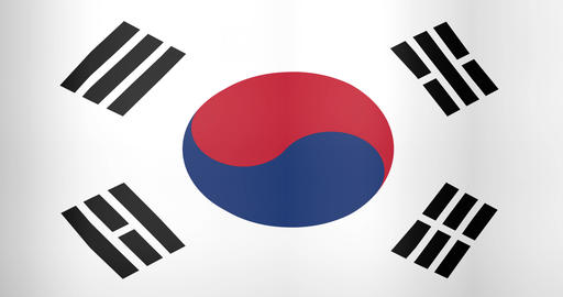 Waving Flag of South Korea Looping Background Live Action