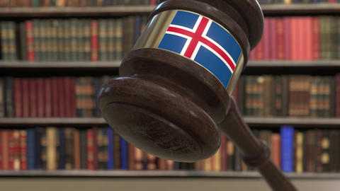 Flag of Iceland on falling judges gavel in court. National justice or Live Action