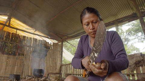 Indigenous Woman Peeling Yucca In Ecuador Live Action