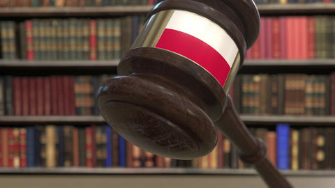 Flag of Poland on falling judges gavel in court. National justice or Live Action