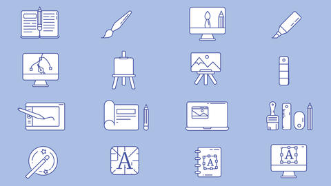 Designer and Illustrator Workplace Icon Set Animation