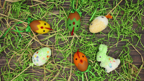 Easter decoration on wooden background - Stop motion animation Animation