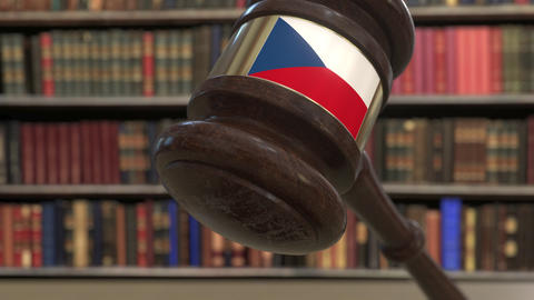Flag of the Czech Republic on falling judges gavel in court. National justice or Live Action