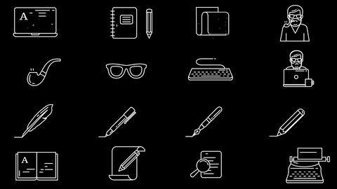 Writer and Blogger Workplace Icon Set Animation